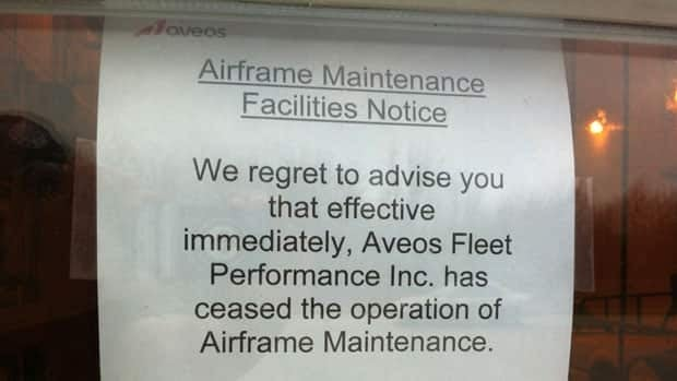 A notice posted at Aveos Fleet Performance Inc.'s Winnipeg plant on Sunday says the company has 'ceased the operation of airframe maintenance.'