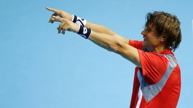 Spain's David Ferrer celebrates after winning the final match of the Valencia Open 500 tennis tournament in Valencia on Sunday.