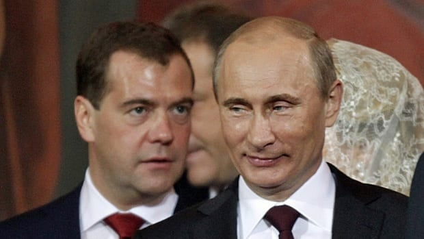 Russian Prime Minister Vladimir Putin, right, and President Dmitry Medvedev, are expected to switch roles when Putin assumes the presidency next month.