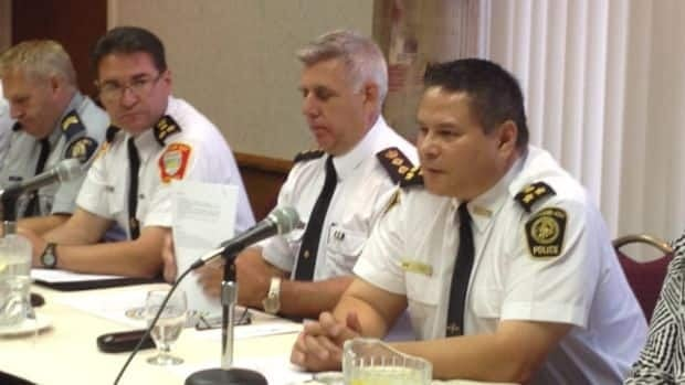 A six-month investigation targeted a network that transported and distributed large amounts of oxycodone and cocaine from southern Ontario to north-western Ontario, including First Nations communities, officials said at a press conference in Thunder Bay Wednesday. Pictured from left to right are Thunder Bay Police Chief JP Levesque, OPP Chief Superintendent Mike Armstrong and Chief Claude Chum of Nishnawbe-Aski Police Service.