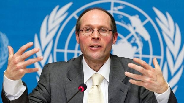 Olivier De Schutter, UN Special Rapporteur on the right to food, answers journalists' questions during a press conference after he presented his report to the 16th session of U.N. Human Rights Council, at the European headquarters of the United Nations in Geneva, Switzerland, Tuesday, March 8, 2011. De Schutter is visiting Canada this week, but he won't be making any stops in the North.
