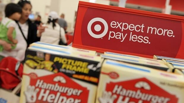 Items on sale at a Target store in Daly City, Calif., this month. Target Canada announced its first 105 store locations Thursday.