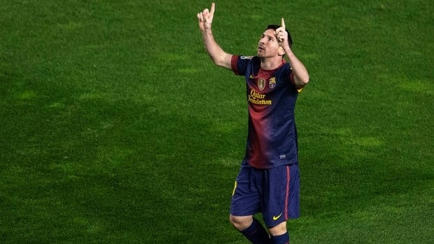 Barcelona forward Lionel Messi celebrates after scoring during the match against Rayo Vallecano on Saturday at the Vallecas stadium in Madrid.
