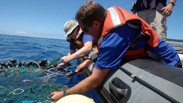 Scientists with the Scripps Institution of Oceanograpy pull in a patch of sea garbage in 2009. The institution says the Great Pacific Garbage Patch, about 1000 km off the coast of California, is affecting the habitat of at least one marine insect.