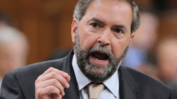 NDP Leader Tom Mulcair speaks in the House of Commons.