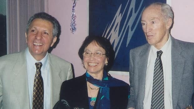 Max and Monique Nemni are shown with Pierre Trudeau in undated photo. The second volume of their biography of the former prime minister earned a Shaughnessy Cohen nomination.