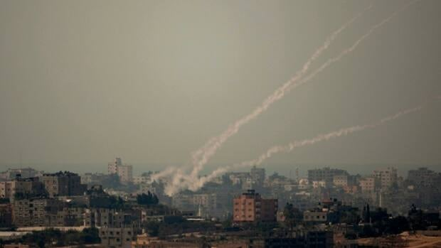 Smoke trails from rockets fired by Palestinian militants in the Gaza Strip toward Israel on Wednesday, which has sparked Israeli retaliation in recent days.