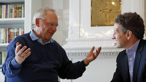 German Finance Minister Wolfgang Schaeuble, left, speaks with U.S. Treasury Secretary Timothy Geithner in Westerland, on the German North Sea island of Sylt, Monday.
