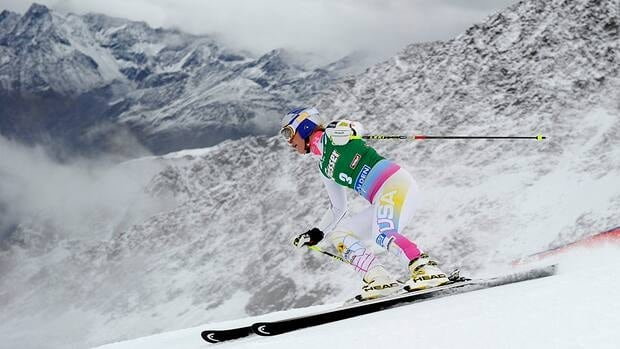 In this photo, Lindsey Vonn of US competes in the first run of the ladies giant slalom during the opening of the FIS Ski World cup in Soelden, Austria on October 27, 2012.