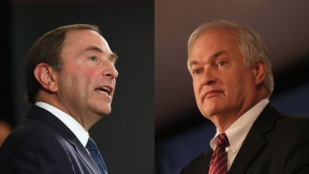 Neither NHL commissioner Gary Bettman, left, nor players' head Donald Fehr appears ready to blink anytime soon in their labour showdown.