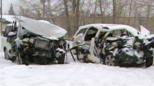 Four temporary Filipino workers were killed when these two vehicles collided near Innisfail, Alta.
