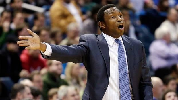 Brooklyn Nets head coach Avery Johnson works the sidelines in Milwaukee on Wednesday night, one day before being fired by the club despite a 14-14 record.