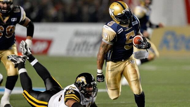 Winnipeg Blue Bombers' Chad Simpson had a career high 134 yards on 19 carries in a win over the Hamilton Tiger-Cats Friday.