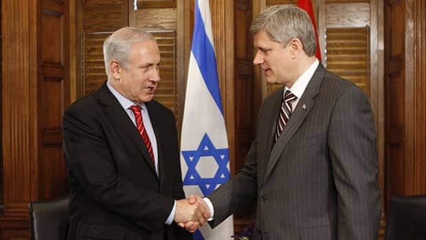 Israeli Prime Minister Benjamin Netanyahu shakes hands with Prime Minister Stephen Harper following a meeting on Parliament Hill in 2010. The two leaders are meeting again in Ottawa Friday.