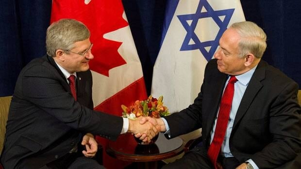 Prime Minister Stephen Harper takes part in a bilateral meeting with Israeli Prime Minister Benjamin Netanyahu. Harper's support for Israel is based on his own principles, but has also provided him with voter support.