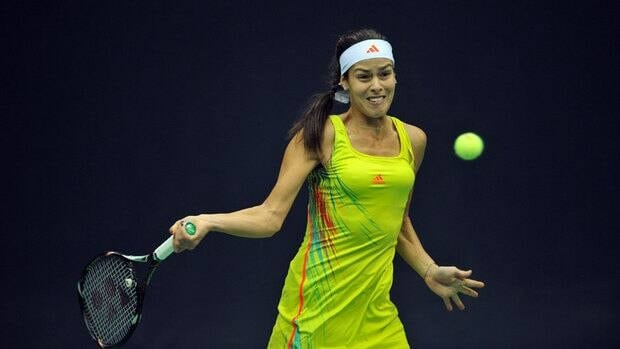 Ana Ivanovic of Serbia returns a ball to her compatriot Vesna Dolonc during the Kremlin Cup in Moscow on Friday.