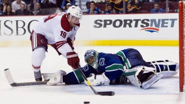 Roberto Luongo foils Coyotes captain Shane Doan (19) in the Canucks' 2-1 shootout victory at the Rogers Arena on Feb. 13.
