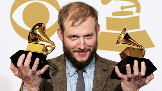 Justin Vernon, seen her posing with the award for best alternative music album for Bon Iver at the Grammy Awards in February, will front Bon Iver at this year's FolkFest.