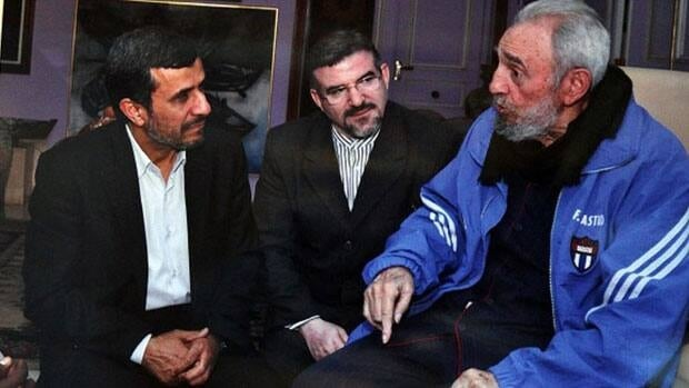 Iranian President Mahmoud Ahmadinejad meets Cuba's former leader Fidel Castro in Havana on Wednesday, with an unidentified translator. Ahmadinejad is on a tour of Latin America, amid tensions over Iranian threats to close the vital Strait of Hormuz.