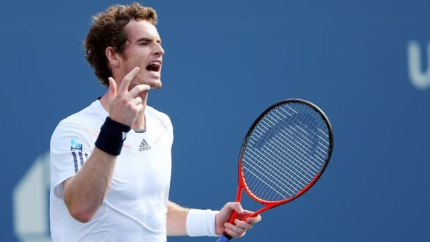 Andy Murray reacts during his men's singles semifinal match against Tomas Berdych at the U.S. Open on Saturday.