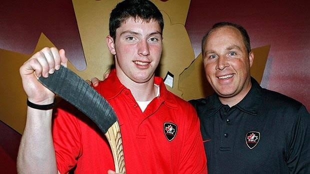 Steve Spott, right, seen with current NHLer Matt Duchene in 2008, led has worked with Canada's U-18 team in the past.