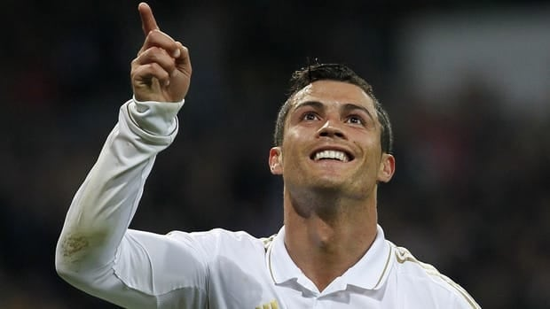 Real Madrid's Cristiano Ronaldo celebrates his goal on Saturday against Real Sociedad.
