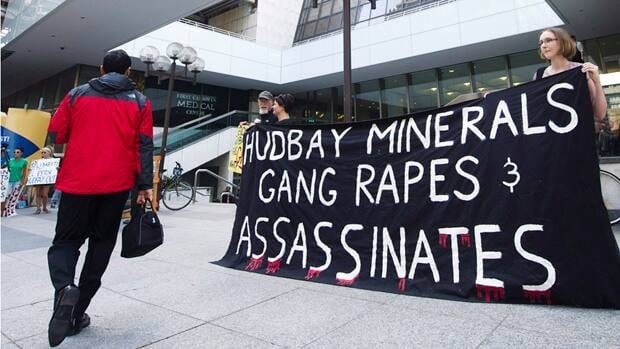 In June, protesters gathered outside Hudbay Minerals Inc.'s annual general meeting in Toronto. The company has denied any allegations and is seeking to have three lawsuits against it thrown out.