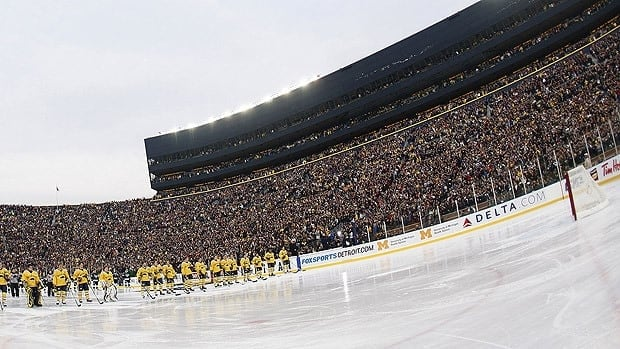 A record crowd of 104,173 people attended a college hockey game between the Michigan Wolverines and Michigan State Spartans on Dec. 11, 2010.