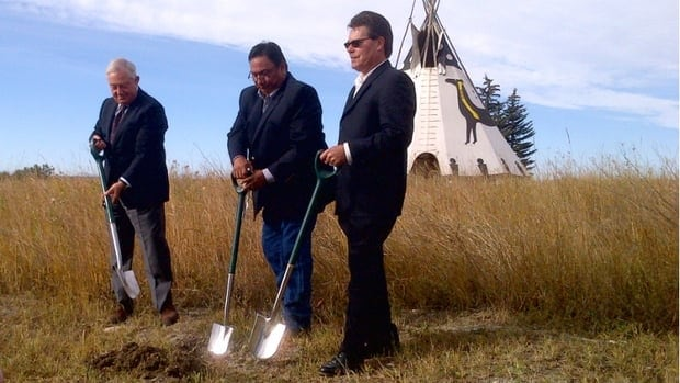 Officials turn over sod to celebrate expansion plans announced today for the Grey Eagle Casino.