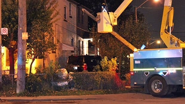 An SUV police say was fleeing the scene of a home invasion slammed into a hydro pole Wednesday night.