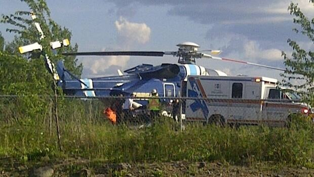 An injured person en route to hospital in Grand Falls-Windsor.