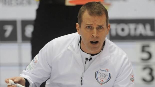 Winnipeg skip Jeff Stoughton sits in the house during his 8-7 loss to John Epping of Peterborough, Ont., in draw 7 of the Capital One Canada Cup curling competition in Moose Jaw, Sask., on Friday, November 30, 2012.