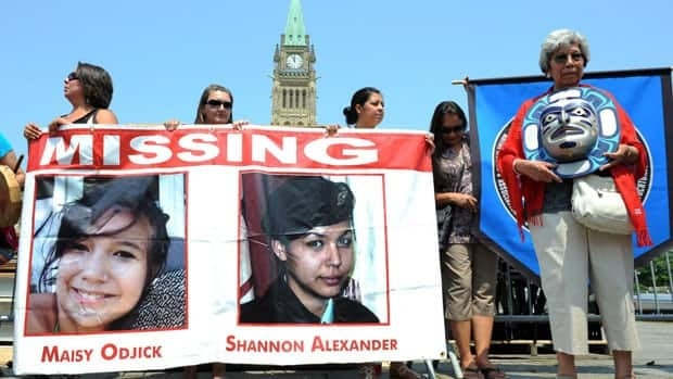 Participants of the Women's Worlds 2011 congress take part in a rally on Parliament Hill in solidarity with missing and murdered aboriginal women in Ottawa on Tuesday, July 5, 2011.