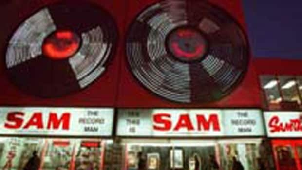 The huge neon 'Sam the Record Man' sign was a Toronto landmark.