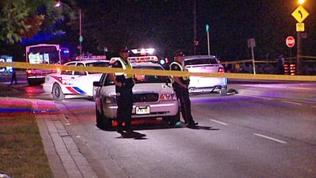 A shooting in the east end of Toronto after a fireworks show on Canada Day sent a 21-year-old to hospital.