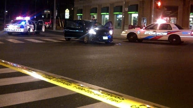 Toronto police say two wounded gunshot victims were found in a car in Bloor West Village.