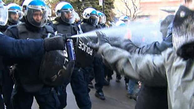 Montreal riot police spray student protesters Thursday afternoon.