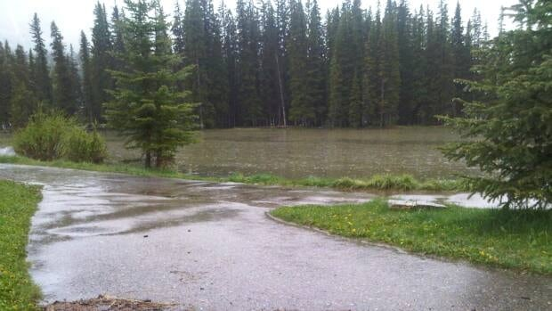 Water levels remain extremely high in Banff with more rain, and even snow, expected today.