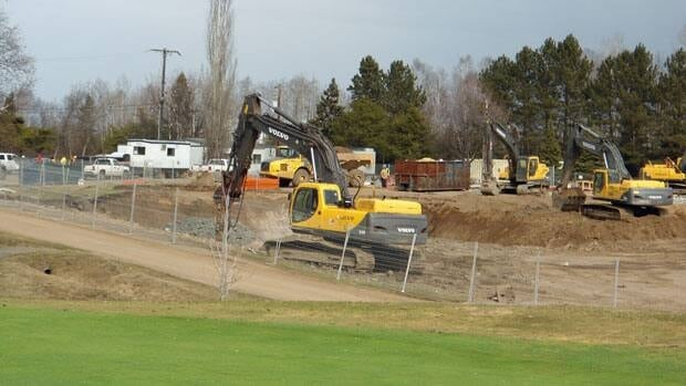 All work has stopped at the Thunder Bay Country Club construction site.