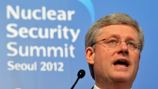 Prime Minister Stephen Harper speaks at a news conference at the close of the nuclear security summit in Seoul on Tuesday.