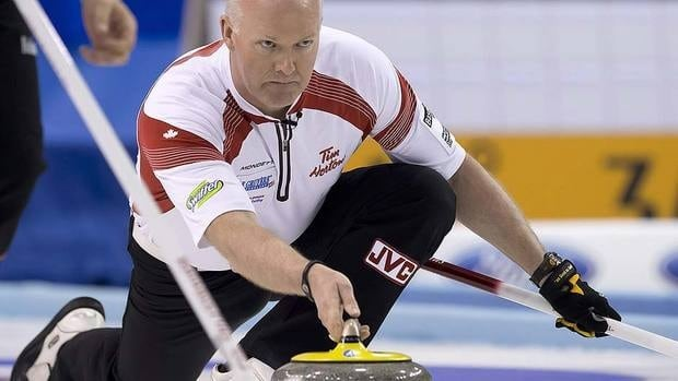 Canada's skip Glenn Howard, seen here earlier this month at the men's world championships, moved one step closer to clinching a 2013 Olympic trial berth with Wednesday's 8-5 win over Mike McEwen.