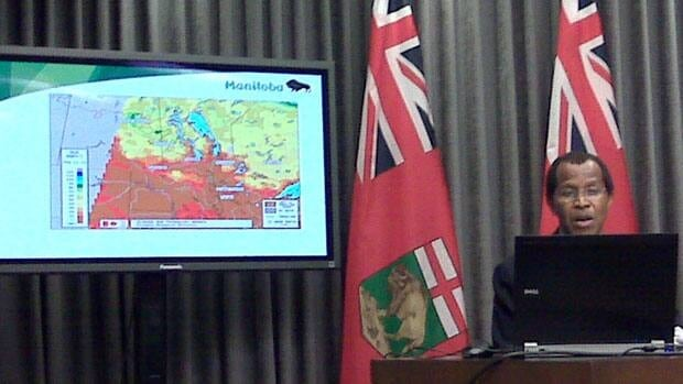 Manitoba's senior provincial flood forecaster Philip Mutulu speaks to reporters on Thursday.