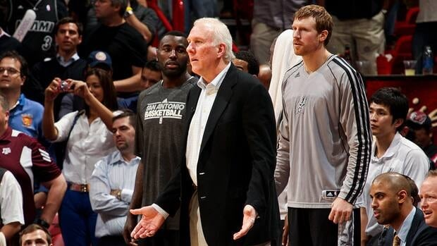 Head Coach Gregg Popovich of the San Antonio Spurs reacts as his team plays the Miami Heat on November 29, 2012 at American Airlines Arena in Miami, Florida.