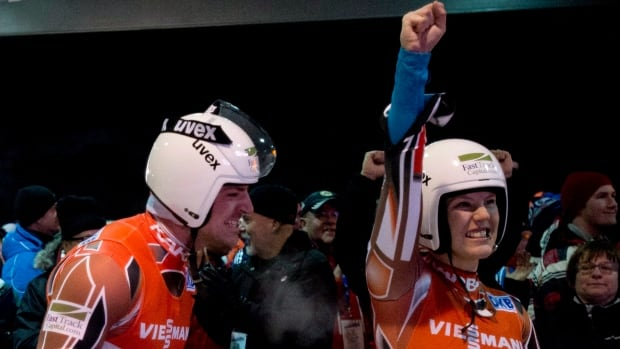 Canada's Alex Gough, right, and teammate Samuel Edney Gough, Sam Edney won a silver medal at this year's world championship.