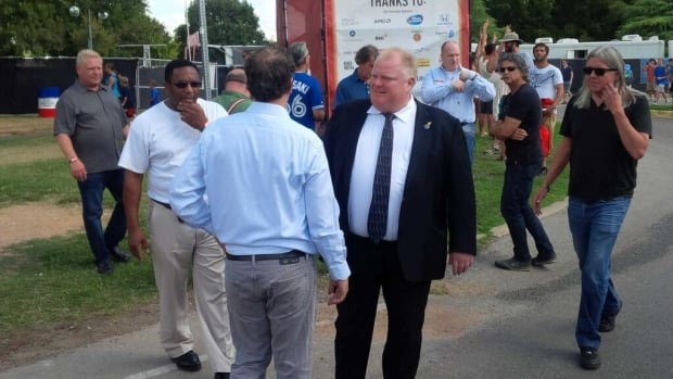 Toronto Mayor Rob Ford arrives at the Austin City Lights Music Festival in Austin, Texas, on Friday, Oct. 4, 2013.