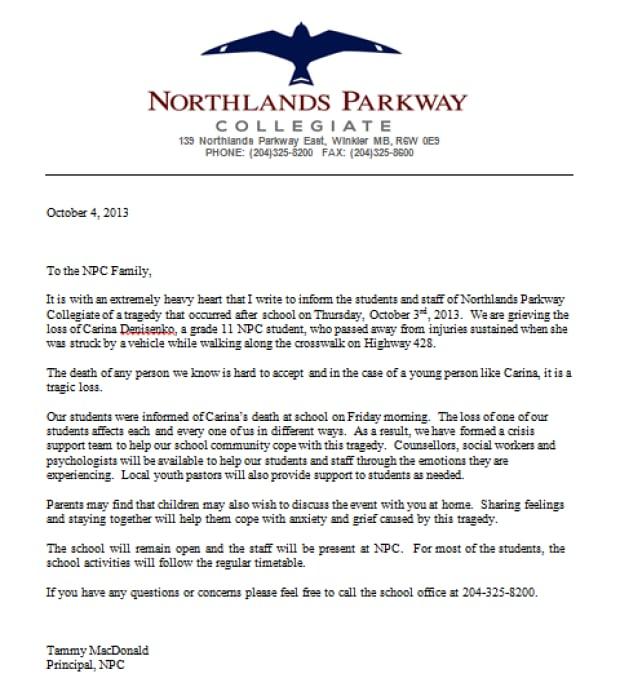 Northlands Parkway Collegiate letter
