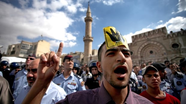 A Jordanian man chants anti-government slogans during a protest by the Muslim Brotherhood movement.
