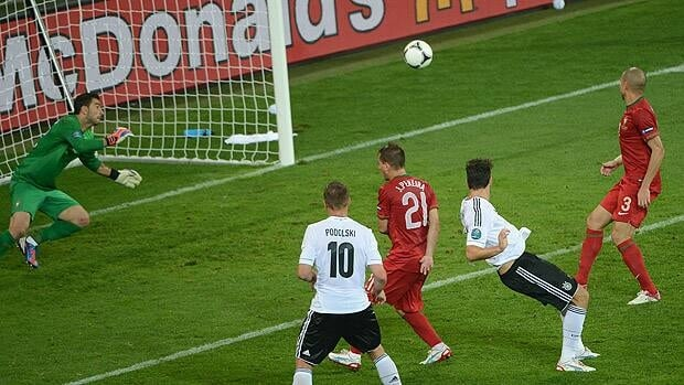 German forward Mario Gomez, second right, scores against Portugal.