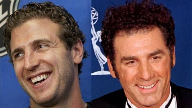 Los Angeles Kings centre Mike Richards centre Mike Richards head-to-head against Cosmo Kramer.