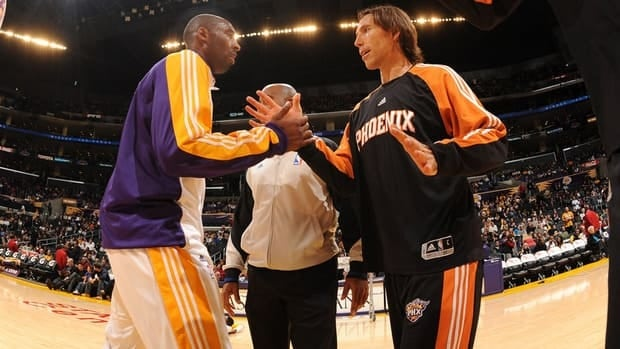 Steve Nash, right will be joining Lakers great Kobe Bryant, left, in Los Angeles next season.